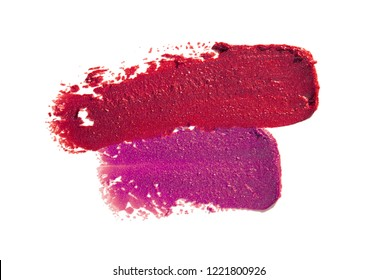 Multicolored lipstic smudge white isolated background
