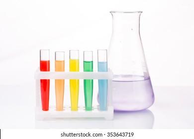 Multicolored liquid chemical tubes.