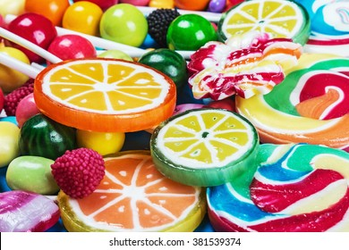 multicolored lollipops, candy and chewing gum background