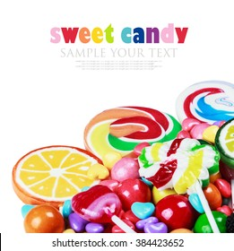 multicolored lollipops, candy and chewing gum on a white background. Sample text and delete