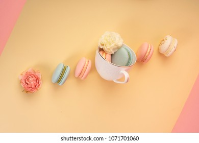 Multicolored macaroons cake are placed in a cup along with buds flowers while others are laid diagonally on  yellow and pink background. Copy space. Bakery, cooking, gifts, conceptual and advertising