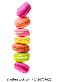 Multicolored macaroons cookies stack isolated on white background
