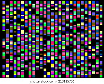 Multicolored matrix of alternation and multiplicity on a black background