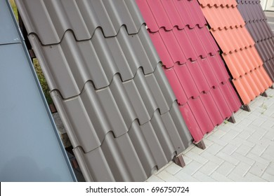 Multicolored metal roof decking. Different color sample of the product.