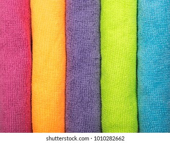 Multicolored Microfiber Pattern. Microfibre Synthetic Fiber Background or Texture. Cleaning Cloth Top View Closeup