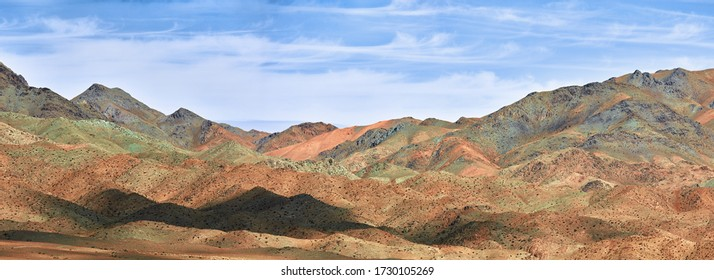 Multicolored mountains of Mongolia. Landscapes of Mongolia, panorama of mountains in the Gobi desert.