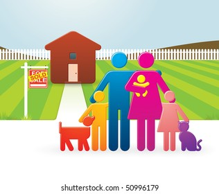 Multicolored Multiracial Family in Front of their Newly Bought Country Home
