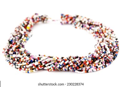 Multicolored Multistrand Twisted Beaded Neckwear, Traditionally African, Isolated on White Background