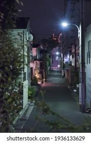 Scène nocturne multicolore dans une rue désert de Tokyo.