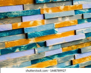 Multicolored old wooden boards as a background