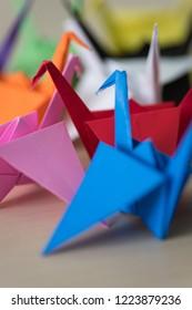 Multi-colored Origami Cranes