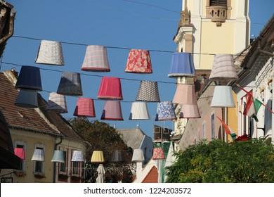 Multicolored paper lamps, lanterns decorations. Szentendre city
