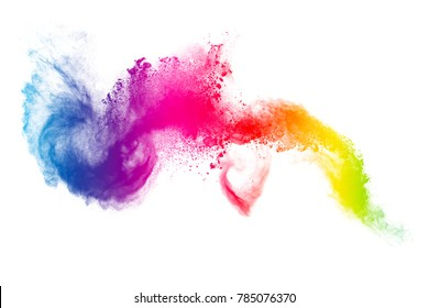 Multicolored particles explosion on white  background. Colorful dust splatter on white background.