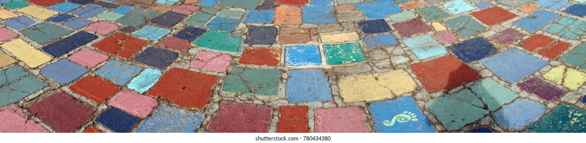 Multi-colored paving in artist's community of Balboa Park, San Diego, California