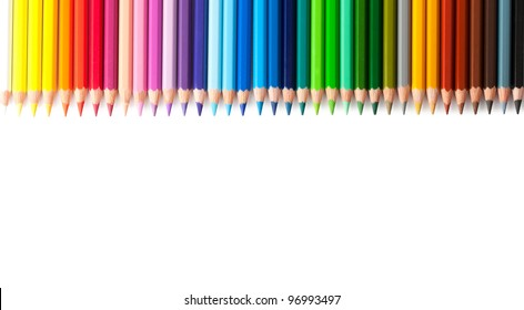 Multicolored pencils isolated on white