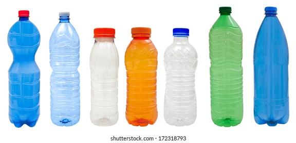 Multicolored   Plastic bottles isolated on white background