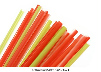 multicolored plastic drinking straws isolated on white background