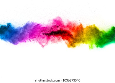 Multicolored powder explosion on white background. Colored cloud. Colorful dust explode. Paint Holi. abstract multicolored dust splatter on white background