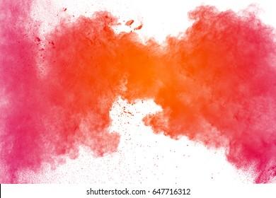 multicolored powder explosion on white background. Mauve color cloud. color dust explode. Freeze motion paint Holi.