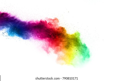 Multicolored powder explosion on white background. Colored powder splash cloud isolated on white background.Launched colorful powder isolated on white background