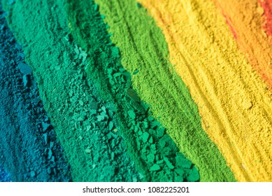 multicolored powder pigments background selective focus