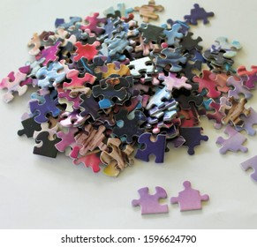Multicolored Puzzle Pieces two matching pieces separate