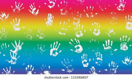 Multicolored rainbow flag with many hands imprint for LGBT community concept. Symbols of homosexuals on gay pride. Idea of tolerance and international movement of people fighting against homophobia.