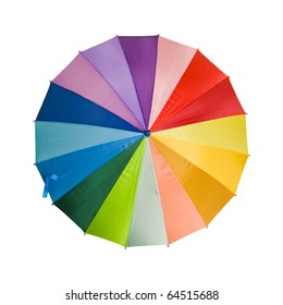 multicolored rainbow umbrella shot from the top - isolated on white background;