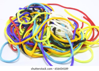 Multicolored rope on white background