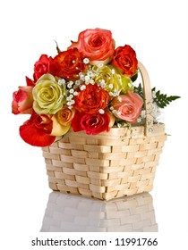 Multicolored roses in a basket