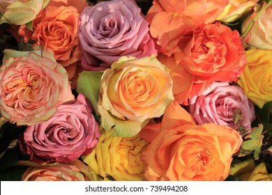 Multicolored roses in a floral wedding decoration