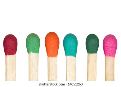 Multicolored row of matches