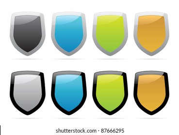 Multicolored shields. Raster version. Vector version is also available.