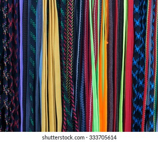 Multicolored shoelaces, Colorful shoelace background