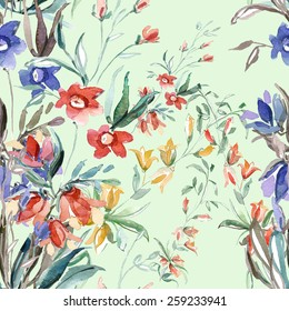 Multicolored small flowers of the field seamless pattern