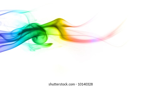 Multicolored smoke on a white background