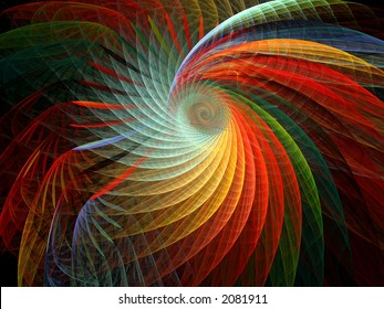 multicolored spiral flame fractal
