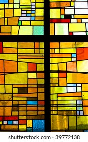 Multicolored stained glass pattern with cross