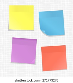 Multicolored stickers for note on white background