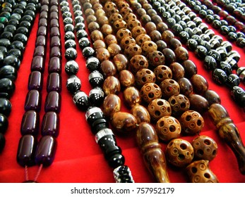 Multi-Colored Stone Beads and Necklaces Hanging