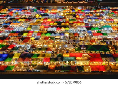 Multi-colored tents /Sales of second-hand, Train Night Market Ratchada, Bangkok Thailand