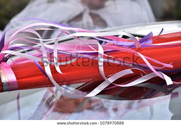 Multicolored Thin Ribbons On White Wedding Stock Photo (Edit