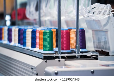 Multi-colored thread roll.Computerized embroidery machines.
