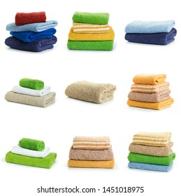 Multicolored towels isolated on a white background