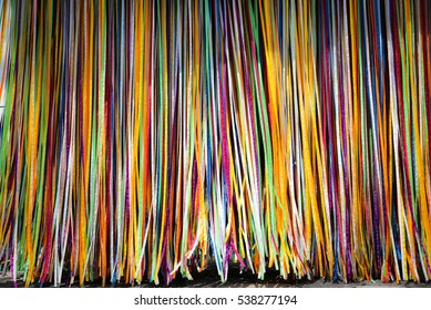 multi-colored vertical ribbon labyrinth