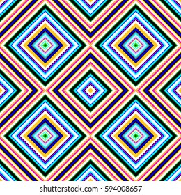 Multicolored vibrant diamond shape tiles seamless illustration.