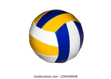Multi-colored volleyball ball isolated on white background.