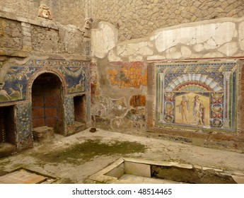 Multi-colored wall mosaics at the ancient Roman city of Herculaneum, which was destroyed and buried by mud and ash during the eruption of Mount Vesuvius in 79 AD