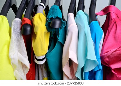 multicolored womens clothing hanging on the hanger  horizontal