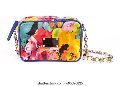 Multicolored Women's handbag, Ladies bag, Multicolored female clutch, Multicolored clutch.Women's bag isolated white background.Bag isolated white background.Clutch isolated white background.